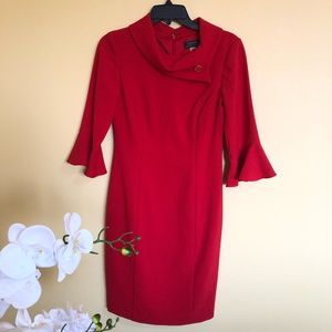 New Tahari red bell sleeve Christmas dress size 2